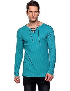 6d24af1cb7c24f Amazon.com  BSGSH Mens Short Sleeve Shirts Lace up V Neck Solid Slim ...