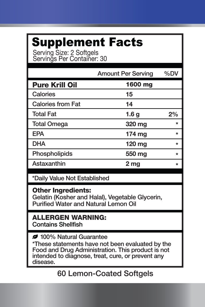 1MD Antarctic Krill Oil Platinum Lemon Coated Soft Gels 60 Count