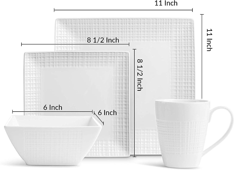 Amazon.com: 32 unidades. Juego de platos cuadrados de ...