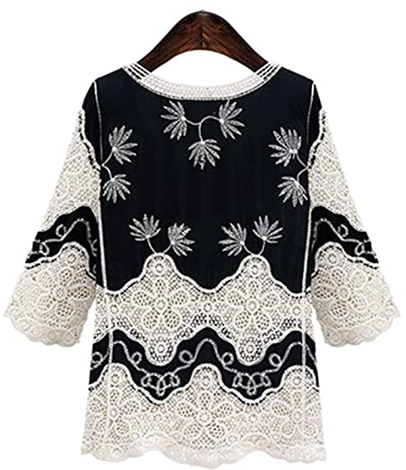 Qihuokeju Stylish Womens Vintage 34 Sleeve Crochet Lace Blouse