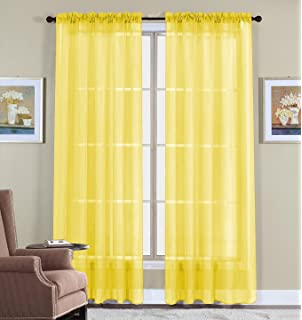 Amazon.com: WPM 2 Piece Beautiful Sheer Window Elegance Curtains ...