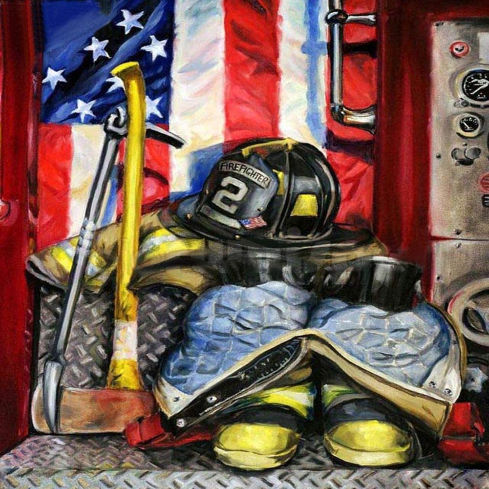 Diamond Painting 5D DIY Kits for Adults, Kids, Beginners. Home Office Decortaion. Gift Presents for Her Him Fireman Banner 11.8x11.8in 1 Pack by Cenda
