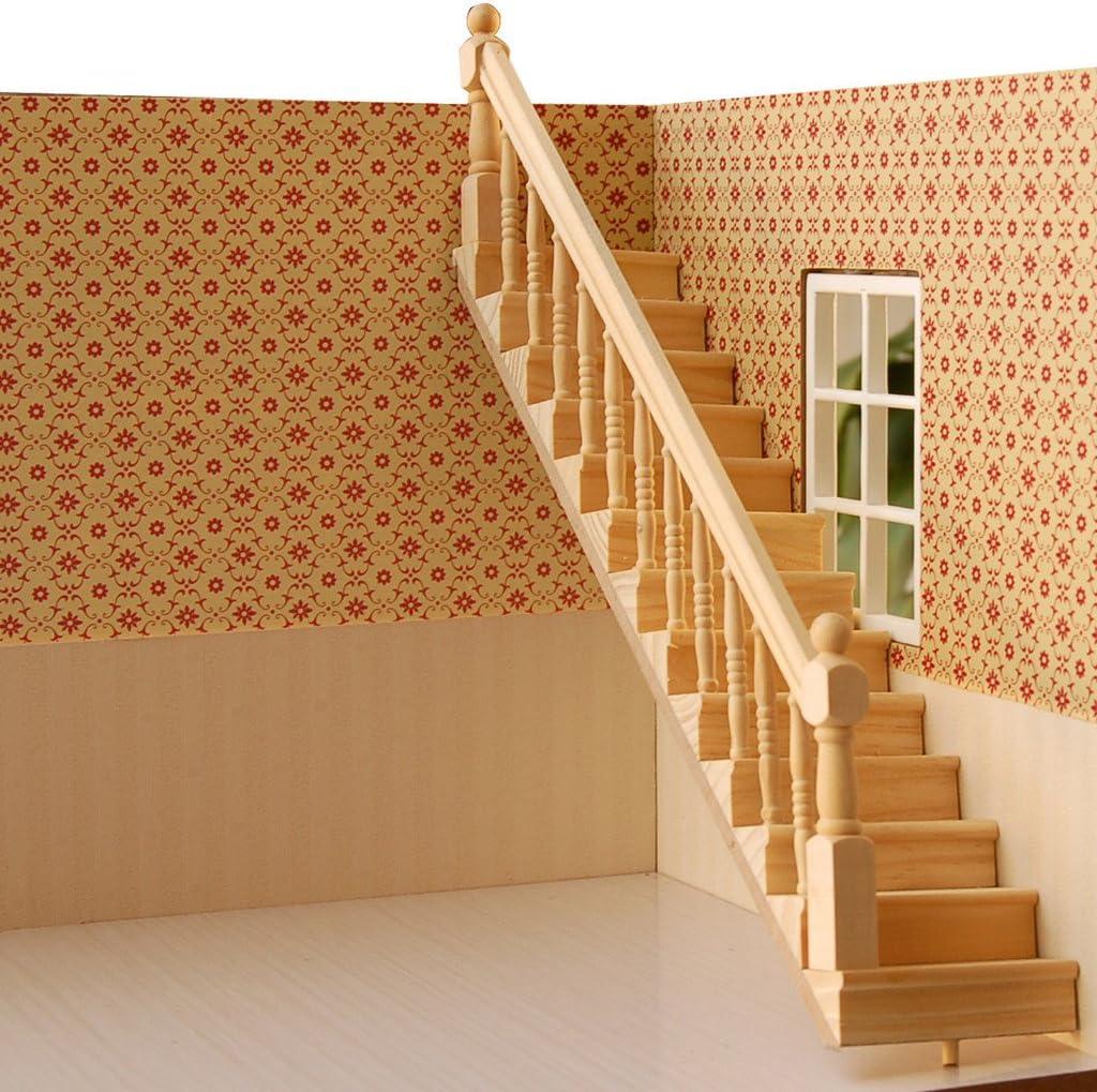 V-EWIGE 1: 12 casa de muñecas de Madera Escalera con pasamanos montado Dollhouse Muebles DIY diseño Nuevo: Amazon.es: Hogar
