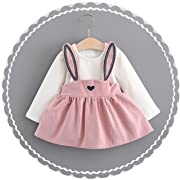 Sunward Rabbit Ear Outfits,Newborn Baby Girl Mini Dress Clothes for 3M-3Years (12-24M, Pink)