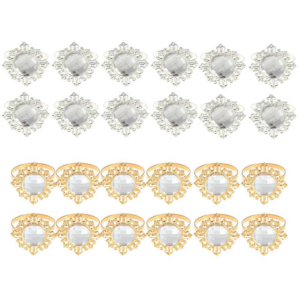 Culturemart 12pcs/Set Acrylic Diamond Design Napkin Rings for Wedding Receptions Gifts Holiday Banquet Dinner Christmas Table Decoration by Culturemart (Image #2)