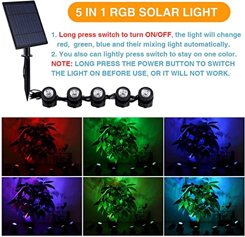 WisHomee Solar RGB Spotlight Outdoor, 5 in 1 RGB LED Landscape Lights, Dusk to Dawn Spotlight for Garden, Patio, Tree, Lawn Color Change Stay on