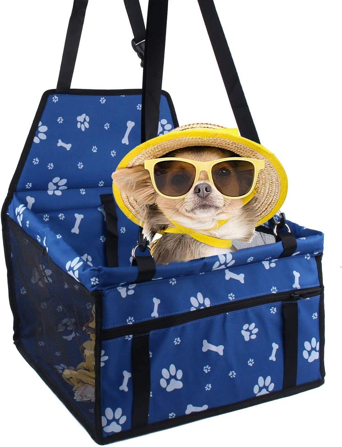 Sinrextraonry Si/ège de voiture pour chien avec laisse de s/écurit/é /à clipser et couverture pour chien Id/éal pour les animaux de petite et moyenne taille Bleu avec empreintes de pattes