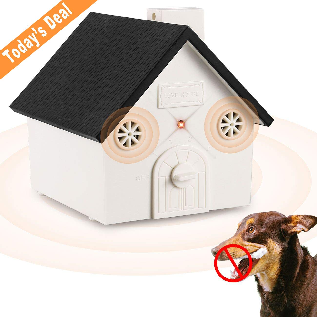 Elenest Anti Barking Device, 2018 New Bark Box Outdoor Dog Repellent Device with Adjustable Ultrasonic Level Control Safe for Small Medium Large Dogs, Sonic Bark Deterrents, Bark Control Device