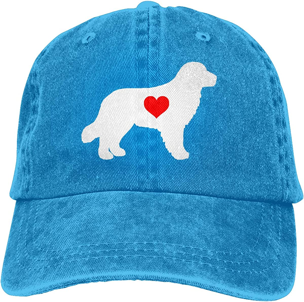 Golden Retriever with Heart-1 Mens Womens Adjustable Jeans Baseball Hat Yarn-Dyed Denim Sun Hat