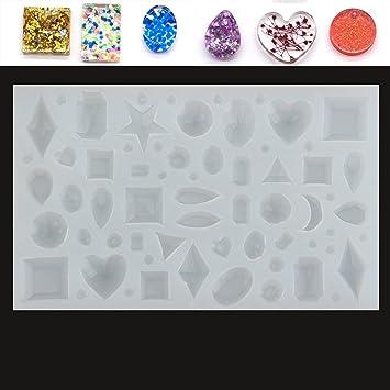 KING DO WAY – Moldes de silicona con formas geométricas, corazón, estrella, luna para hacer joyas de resina: Amazon.es: Hogar