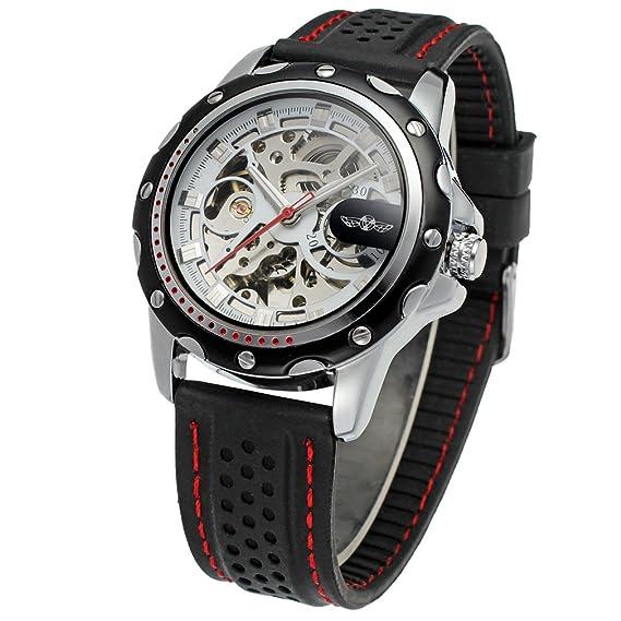 WRG8027 M3T5 Winner marca automático de los hombres vestido de esqueleto original reloj con negro banda