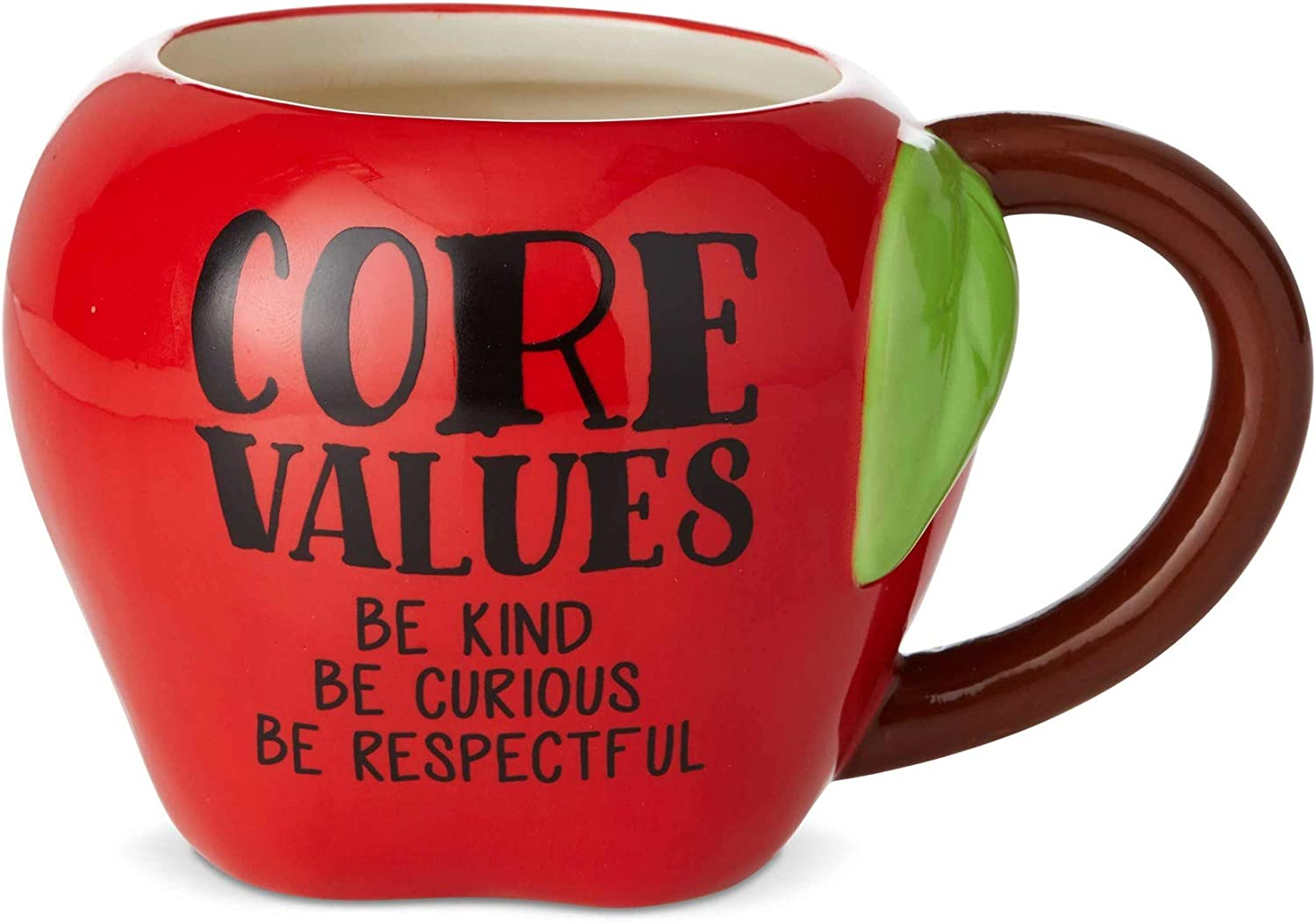 Enesco Our Name is Mud Teacher Core Values Apple Sculpted Coffee Mug, 16 Ounce, Red