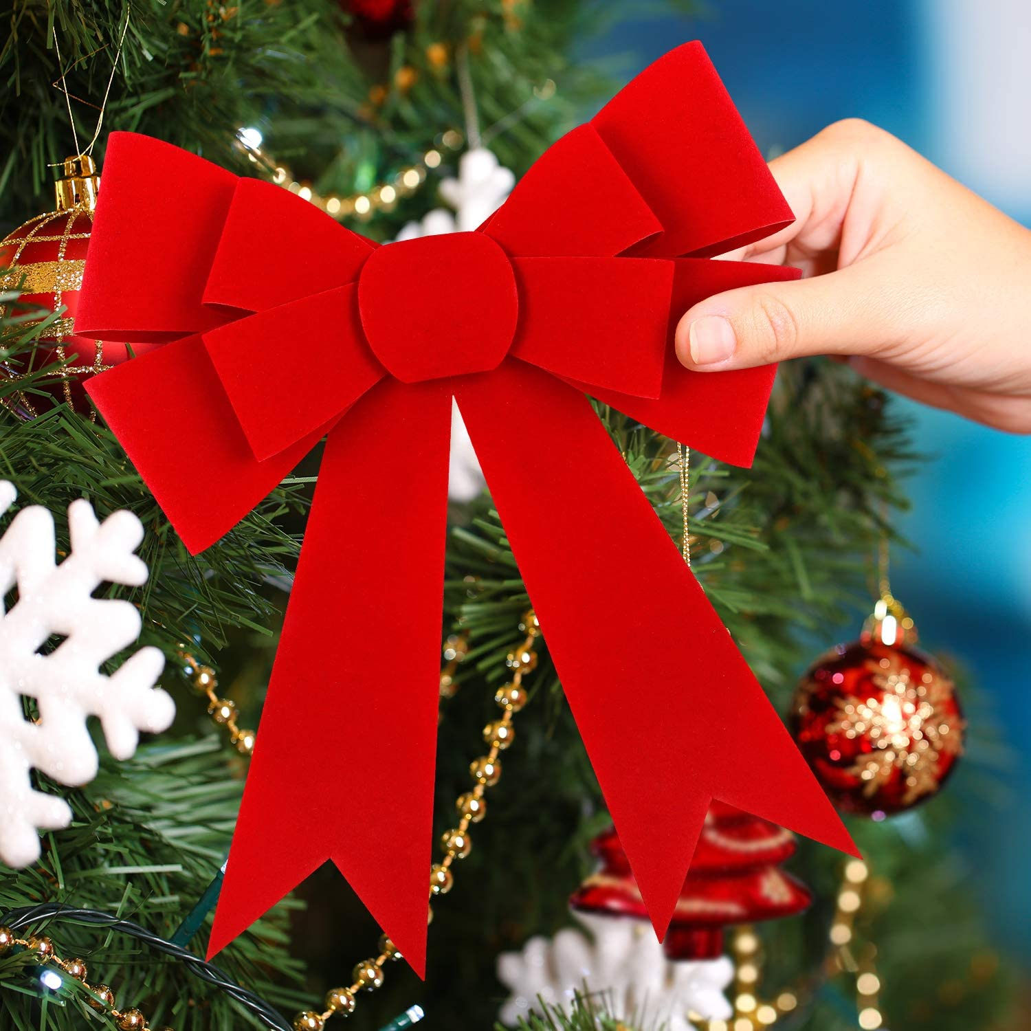 Large Red Bow for Mailbox etc Christmas tree door