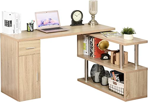 HOMCOM L-Shaped Rotating Computer Desk Home Office Study Workstation