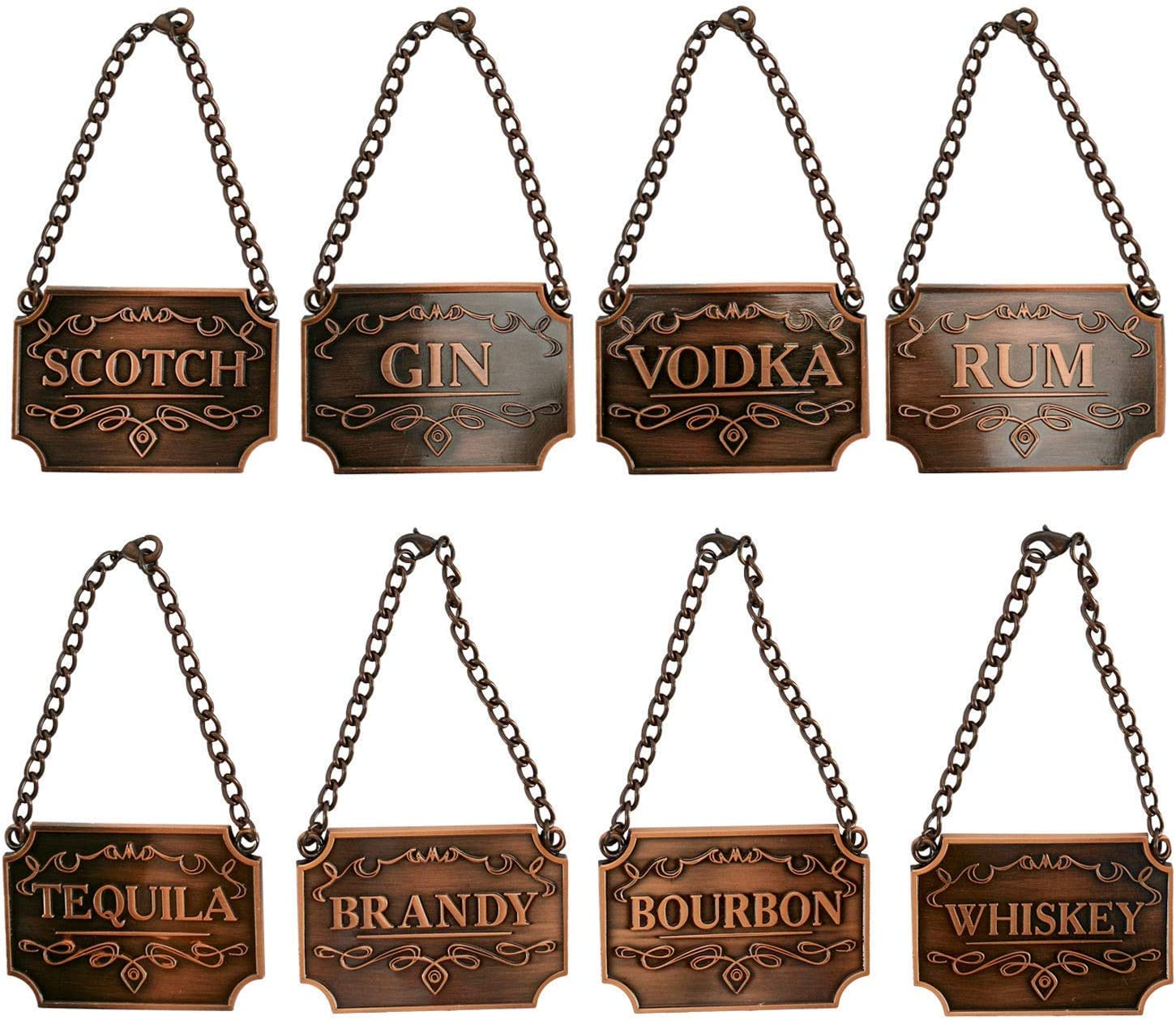 8PCS Copper Liquor Decanter Tags/Labels-(Whiskey, Bourbon, Scotch, Gin, Rum, Vodka, Tequila and Brandy) and with Adjustable Chain Fits Most Bottles