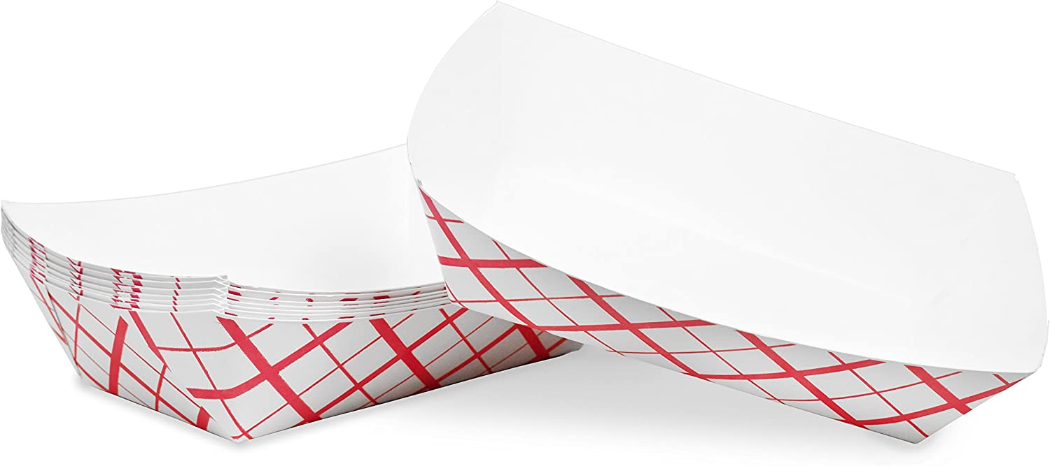 3 lb Red White Plaid Disposable Paper Food Tray for Carnivals, Fairs, Festivals, Concession Stands, Food Trucks (Red Check - large 3 lb, 50)
