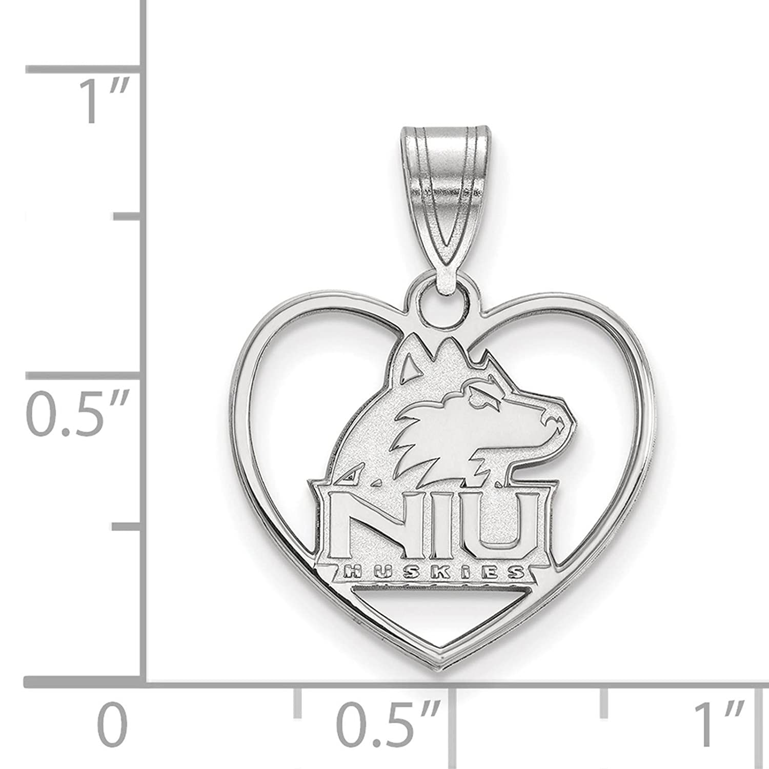 925 Sterling Silver Rhodium-plated Laser-cut Northern Illinois University Heart Pendant