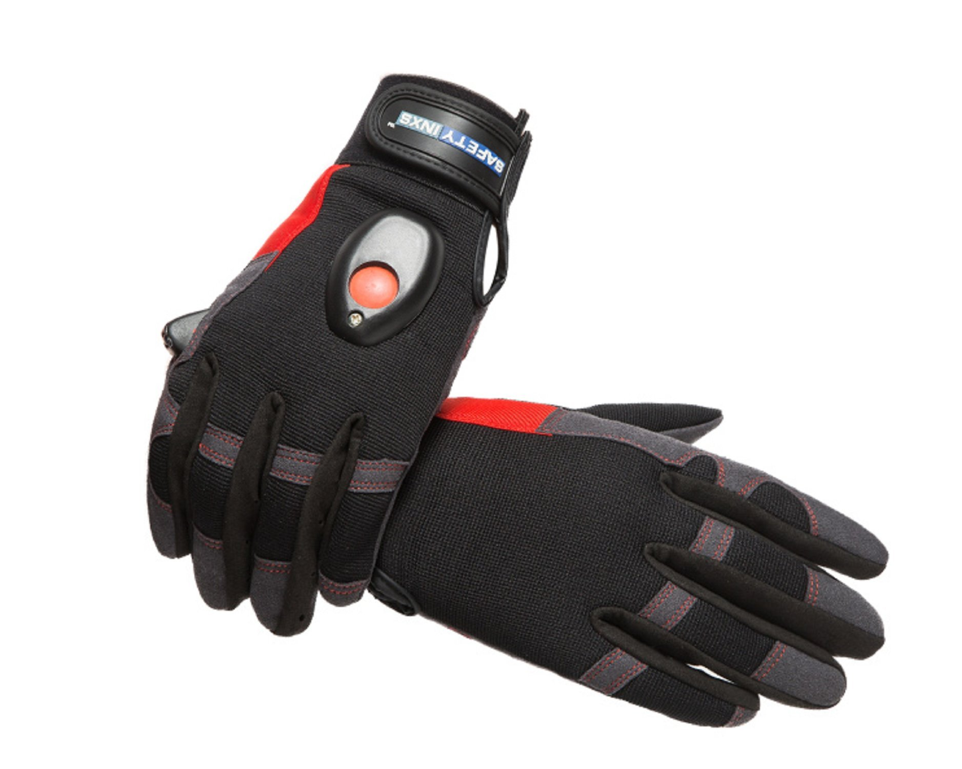 SAFETY-INXS Breathable Mechanic Gloves with Light, Multifunctional Safety General Utility Gloves for Work Sport, Improved Dexterity, Full Finger Outdoor Glove Black, Washable, Large by SAFETY-INXS