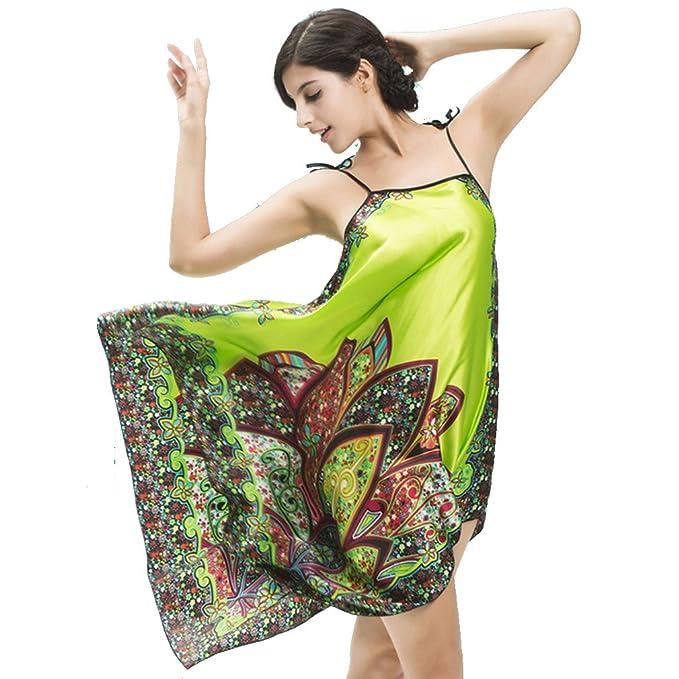 BOYANN Bohemia Paisley Camisones Erótica de Satén Ropa de Dormir para Mujer Sexy Batas y Kimonos, Fruta Verde: Amazon.es: Ropa y accesorios