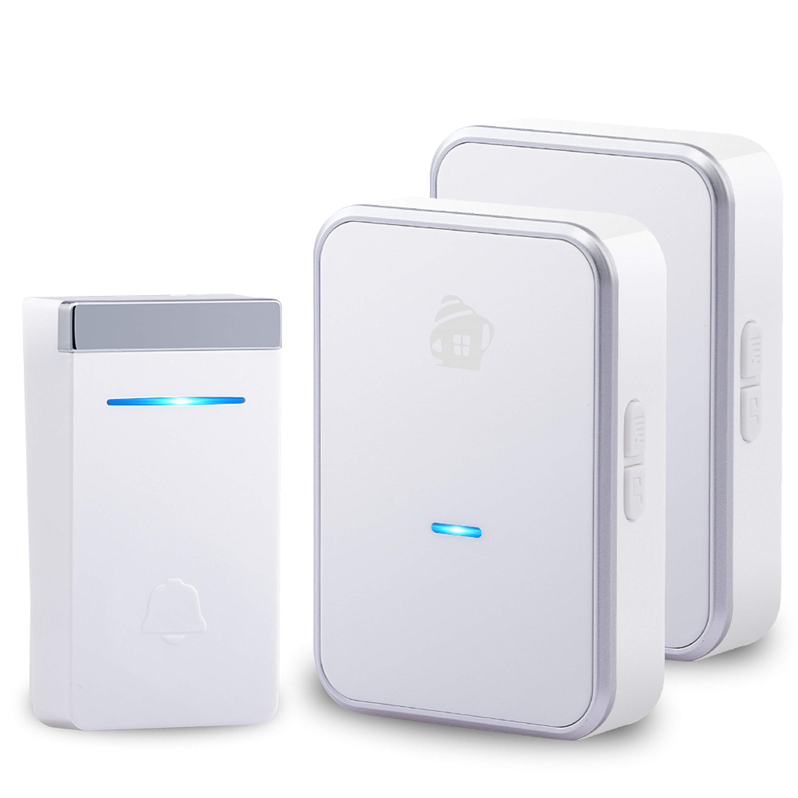 EMHOME Kinetic Wireless Doorbell, No Battery Required Push Button and Plug-in Receiver, Waterproof Doorbell Ring Chime for Kids Range Over 1000 Feets