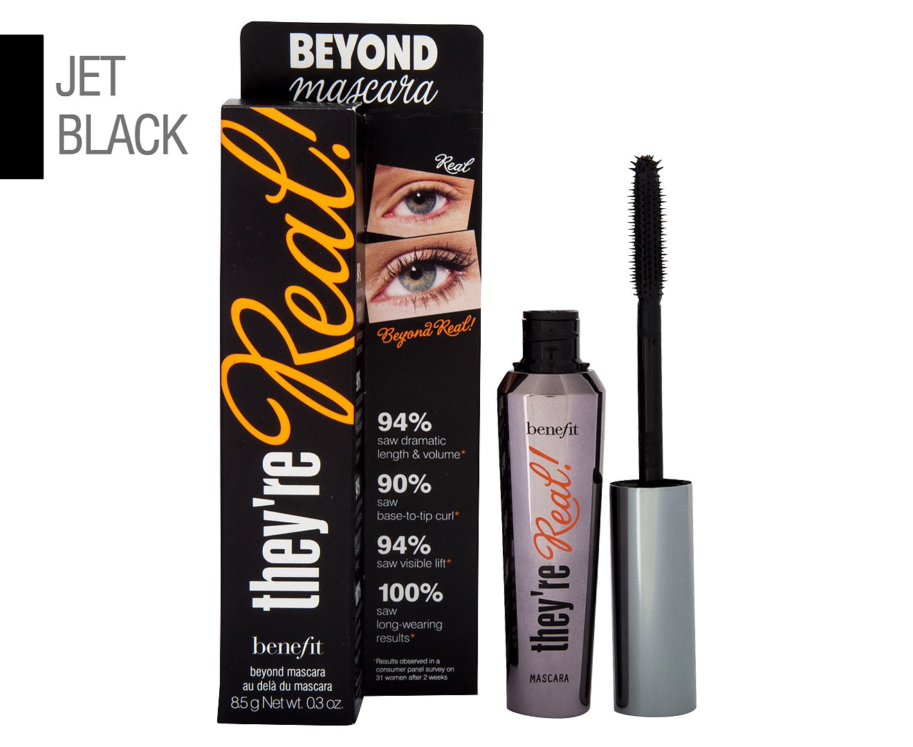 BENEFIT they're real! lengthening mascara beyond mascara FULL SIZE 8.5 g Net wt. 0.3 oz. BOXED 152966