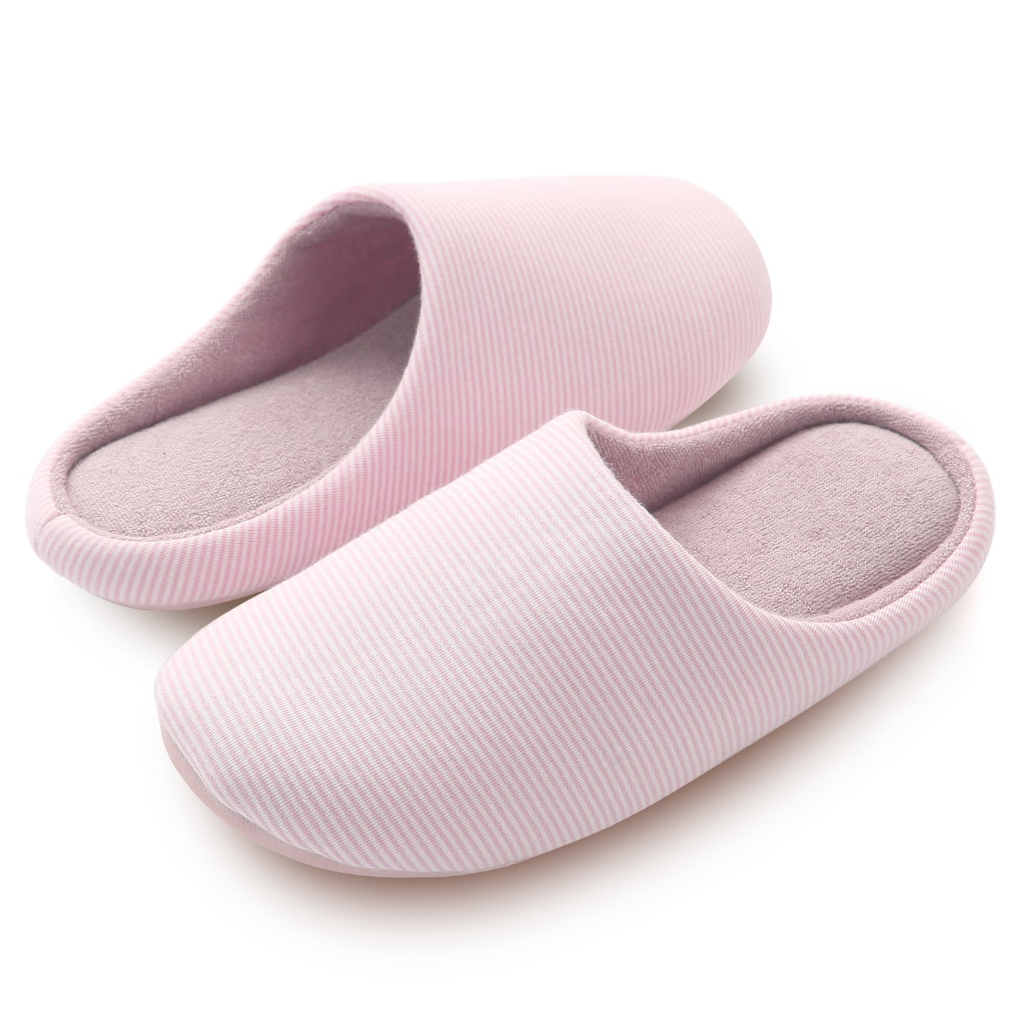 HOMOSEAL Women's Slippers Washable Closed Toe Ultra Lightweight Cotton Indoor Slipper, M, Pink