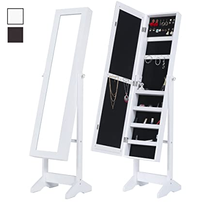Amazon.com: Cloud Mountain Mirrored Jewelry Cabinet Free Standing ...