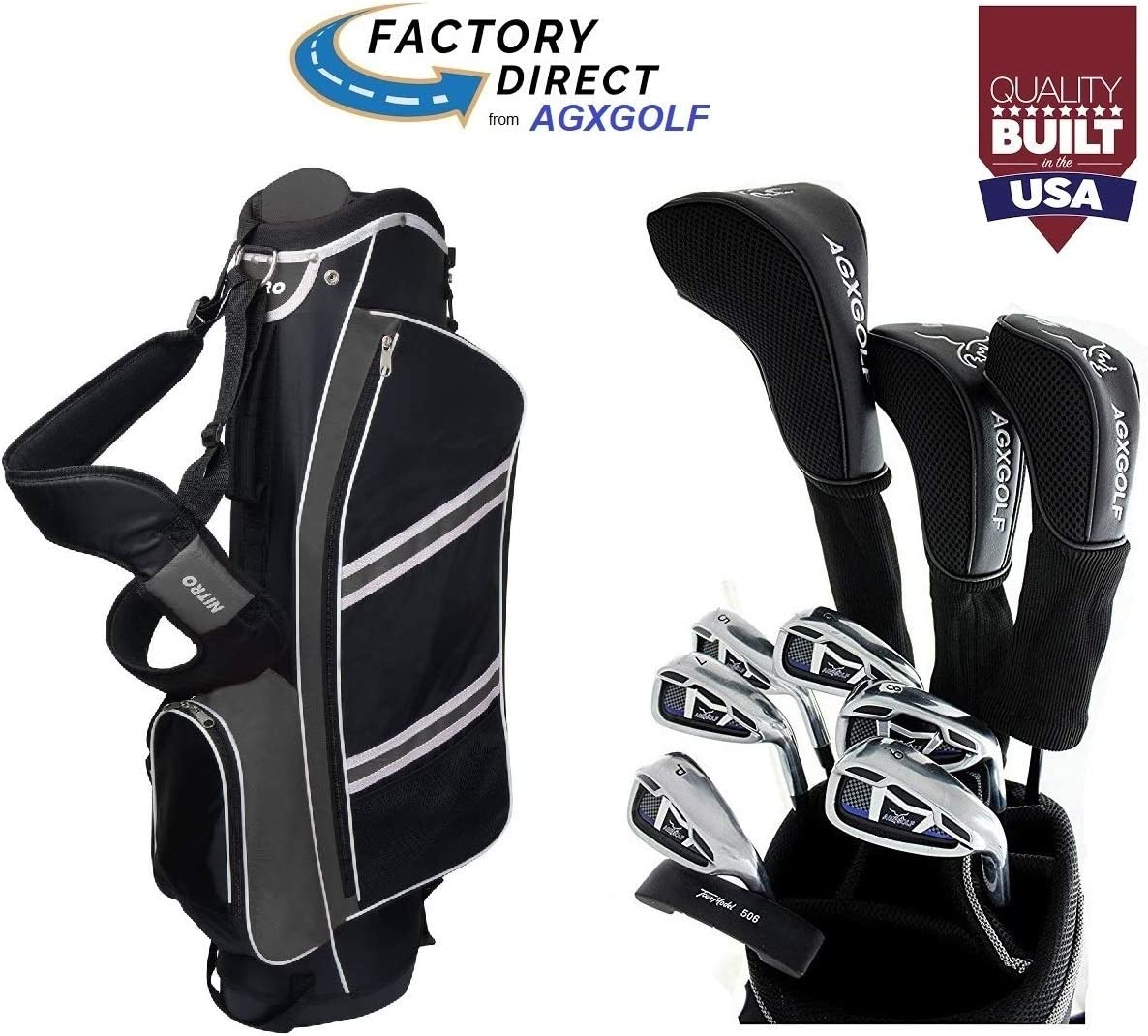 AGXGOLF Senior Men's Magnum Edition Complete Golf Club Set w Stand Bag, 460cc Driver, 3 Wood, Hybrid, 5-9 Irons, Wedge Right Hand Cadet, Regular or Tall Lengths Built in The USA