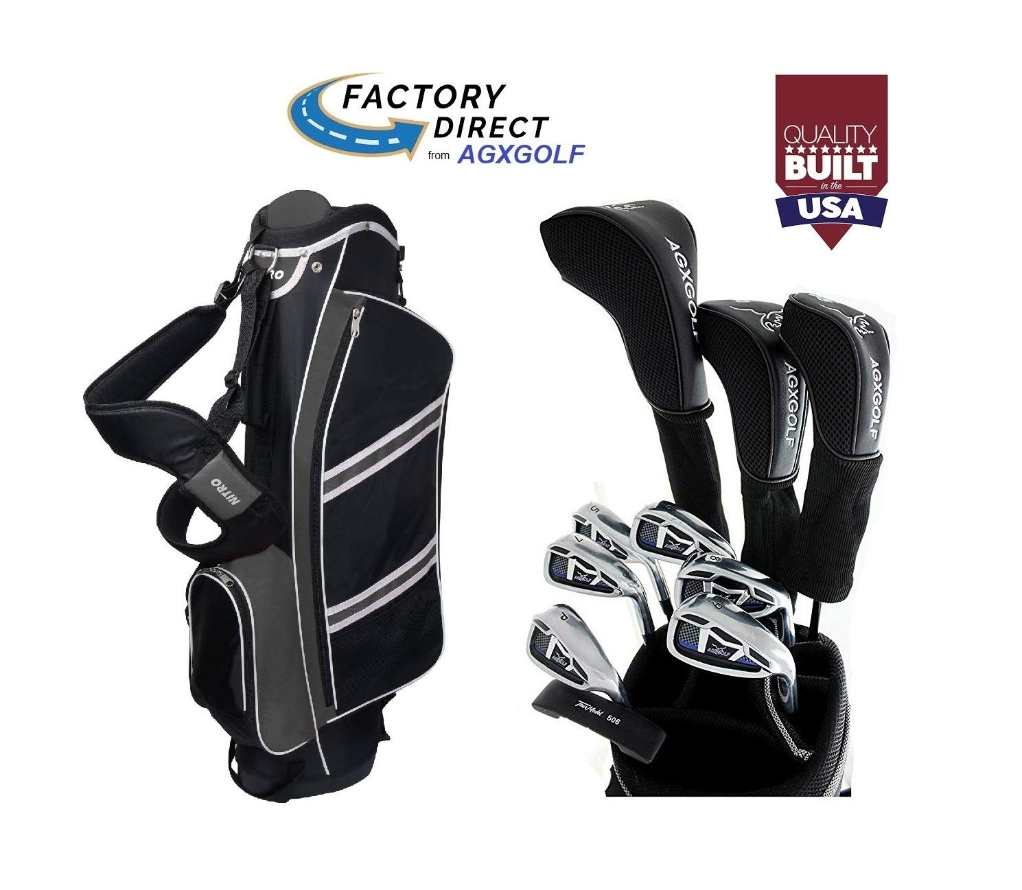 AGXGOLF Senior Men s Magnum Edition Complete Golf Club Set w Stand Bag, 460cc Driver, 3 Wood, Hybrid, 5-9 Irons, Wedge Right Hand Cadet, Regular or Tall Lengths Built in The USA