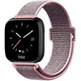 Fintie Bands Compatible with Fitbit Versa & Versa Lite & Versa Special Edition, Soft Nylon Sport Loop Replacement Wristband Strap with Fastener Adjustable Closure, Pink Sand