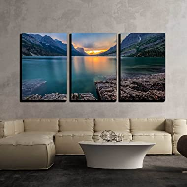 wall26-3 Piece Canvas Wall Art - Sunset at St Mary Lake, Glacier National Park, Mt - Modern Home Decor Stretched and Framed Ready to Hang - 24 x36 x3 Panels