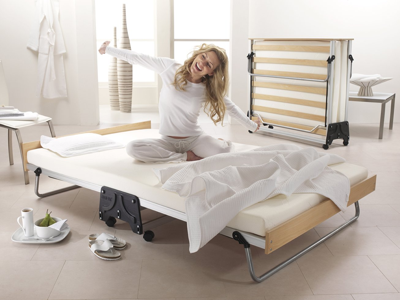 JAY-BE J-cama de invitados plegable modelo con forma de colchón de espuma con efecto memoria, tela, plateado, Doble (135 x 190 cm): Amazon.es: Hogar