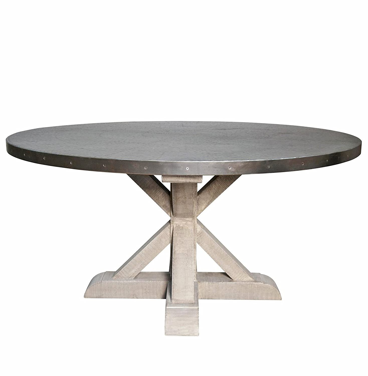 Amazon Lewiston Industrial Loft Zinc Top X Base Round Dining