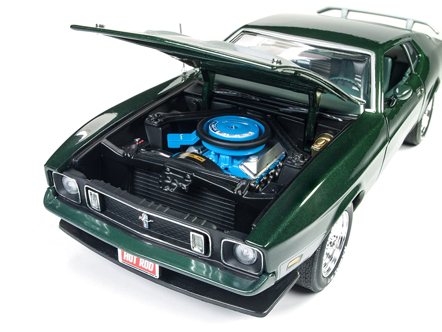 Amazon com 1973 ford mustang mach 1 dark green with silver stripes from hot rod magazine limited edition to 1002 pieces 1 18 diecast model car by