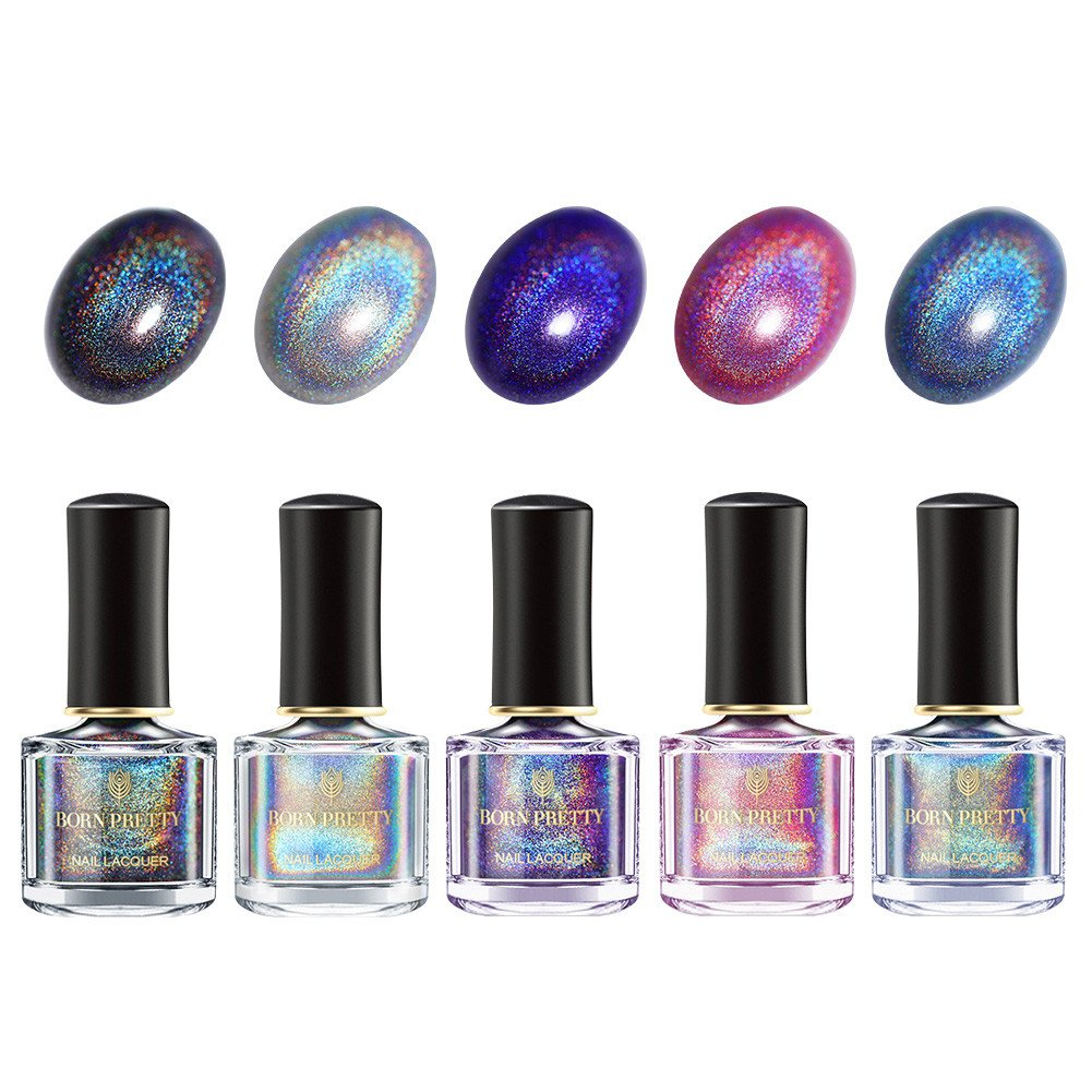 BORN PRETTY Holographic Nail Polish Holo Glitter Polish Nail Lacquer 5 Colors Set 6ml
