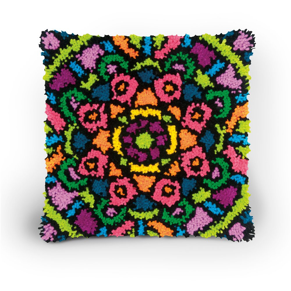 Dimensions Colorful Mandala Latch Hook Craft Kit for Kids 16 x 16