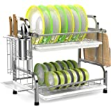 Dish Drying Rack, iSPECLE 304 Stainless Steel 2-Tier Dish Rack with Utensil Holder, Cutting Board Holder and Dish Drainer for