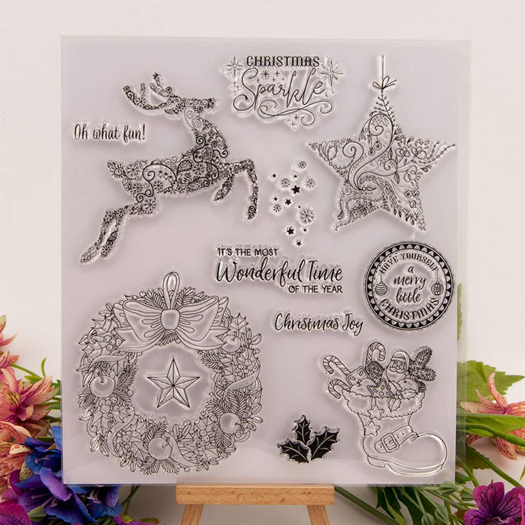Shaoge Christmas Card Making Elements Clear Stamp Cling Seal DIY Handmade Craft Kit