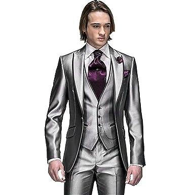 3c9e606e95d MYS Men s Custom Made Groomsman Tuxedo Suit Pants Vest and Tie Set Silver  Size 38R