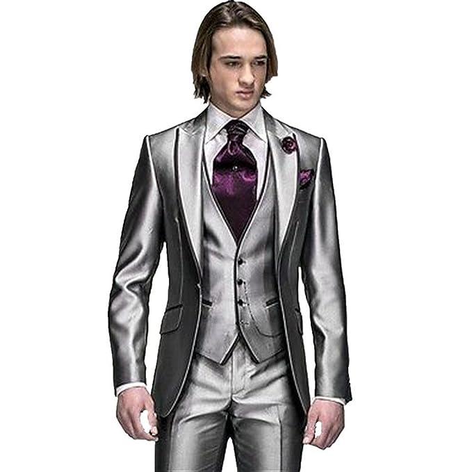 Mys mens custom made groomsman tuxedo suit pants vest and tie set mys mens custom made groomsman tuxedo suit pants vest and tie set silver at amazon mens clothing store junglespirit Images