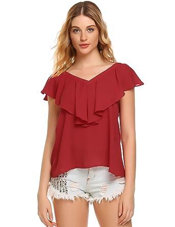 Zeagoo Damen V-ausschnitte Bluse Elegant Kurzarm Fledermaus T-shirt Sexy  Chiffon Oberteil in 56c1dd70e6