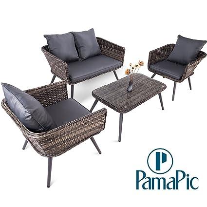 Amazon Com Pamapic 4 Piece Outdoor Patio Wicker Furniture Sets