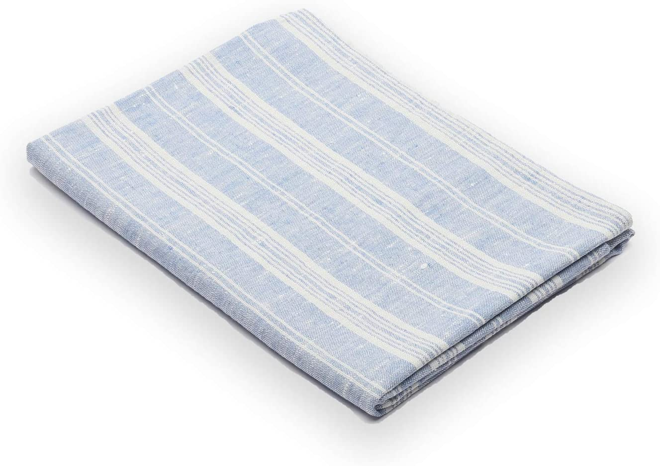 "LinenMe Multi Stripe Bath Towel, 26 by 51""-inch, Blue/White, Prewashed, 100% European Linen"