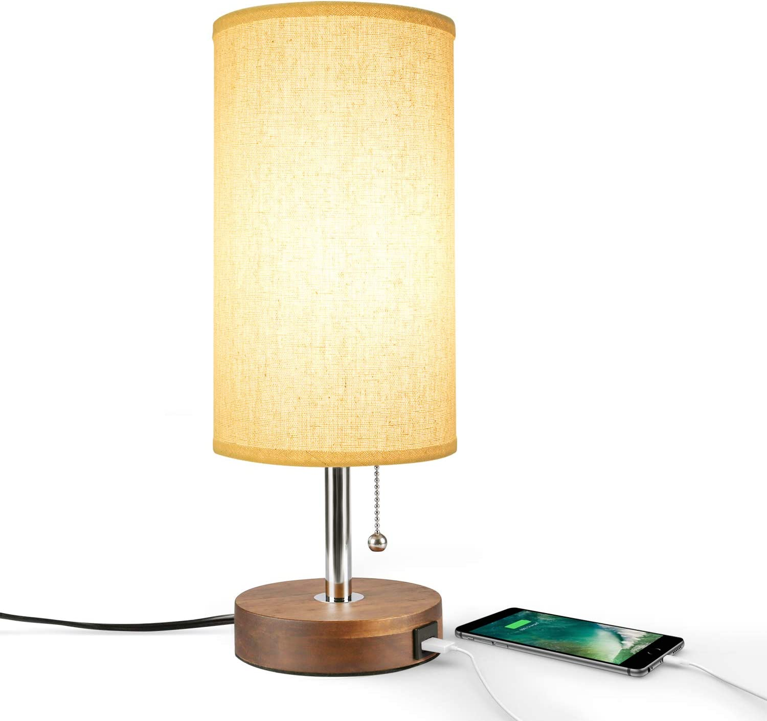 Amazon Com Usb Table Lamp Bedside Desk Lamp Seealle Modern Nightstand Lamp With Usb Charging Port Unique Round Lampshade Convenient Pull Chain Ambient Light For Living Room Bedroom Soild Wood Base Home Improvement
