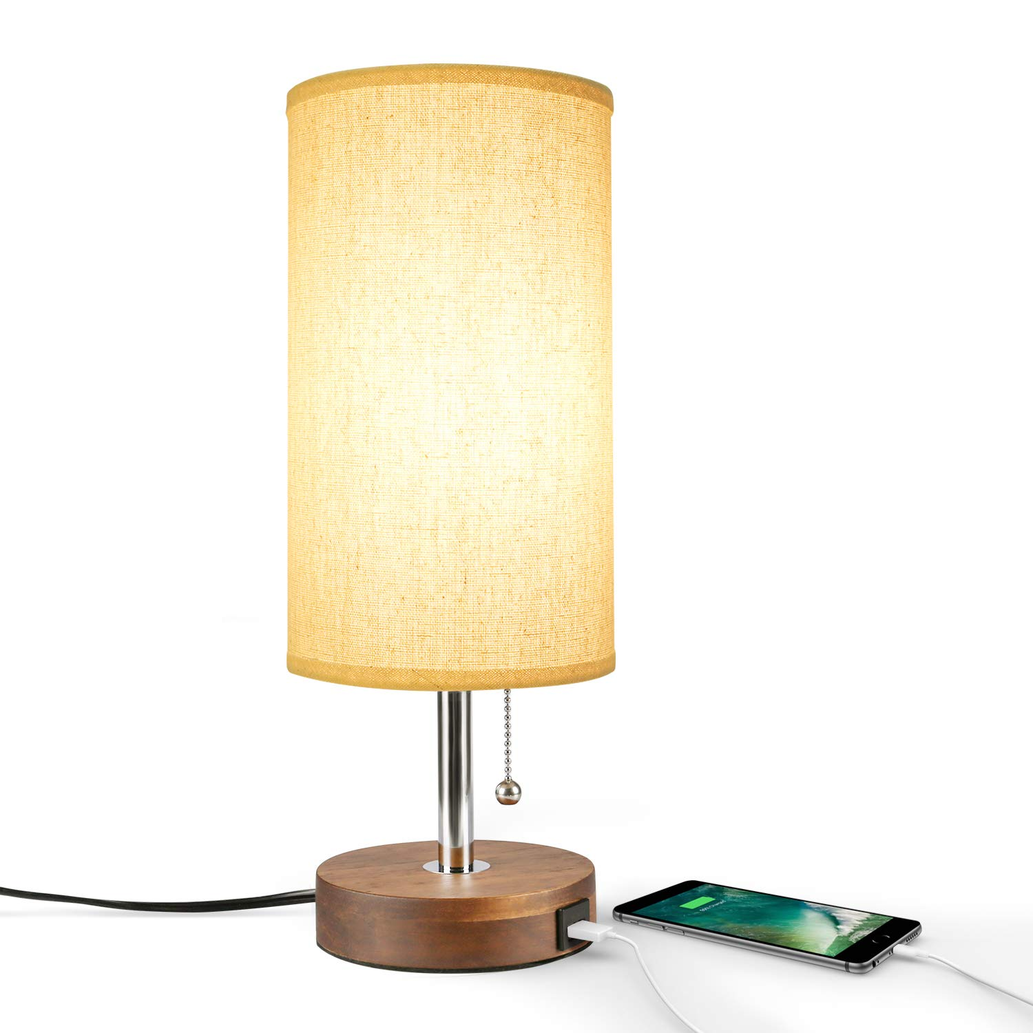 Table Lamp USB, Bedside Desk Lamp, Minimalist Modern Solid Wood Nightstand Lamp with USB Charging Port,Unique Lampshde,Convenient Pull Chain for Bedroom Living Room