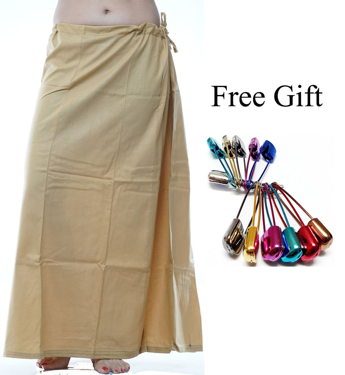 Odishabazaar Women Saree Petticoat Cotton Underskirt Lining For Sari + Free Sari Pin (Gold)