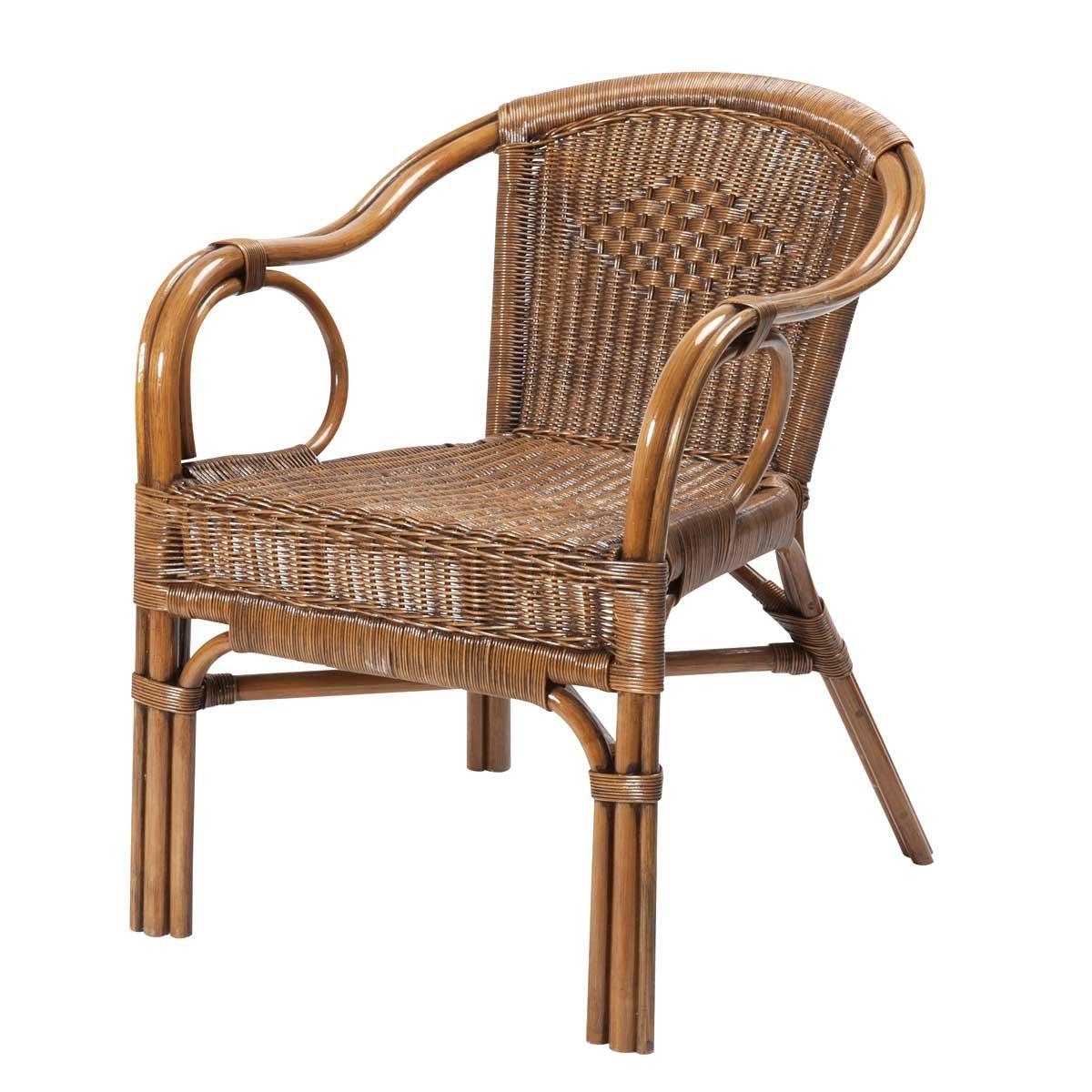 Rattan-Sessel PALMA - Korbsessel - handgeflochten - Bernsteinfarben Braun