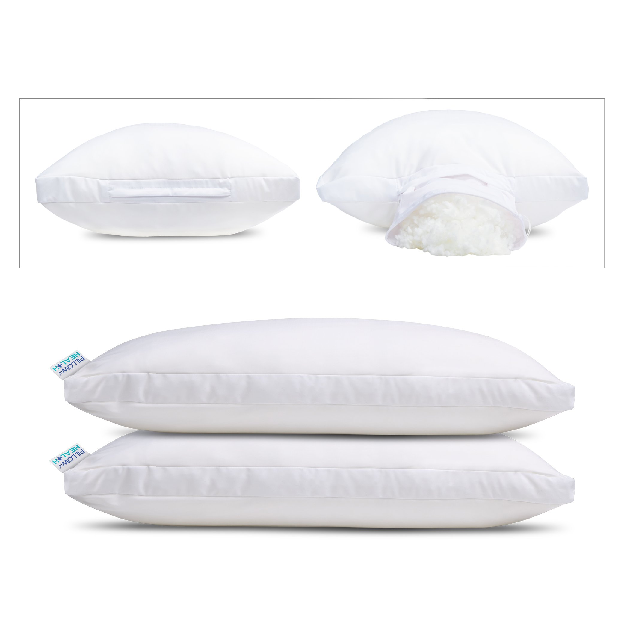 PILLOW of HEALTH - Superior Support Pressure Relief with Gusset | Luxury, Adjustable, Therapeutic Pillow | Patented Design | Antimicrobial, Hypoallergenic, Dust Mite Resistant - King 2 Pack