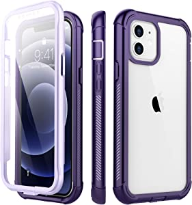Redpepper Designed for iPhone 12 Mini Case,Shockproof Built-in Screen Protector Clear Full Body Heavy Duty Protection Rugged Cover for iPhone Mini 5.4 inch 2020 (Purple/Clear)
