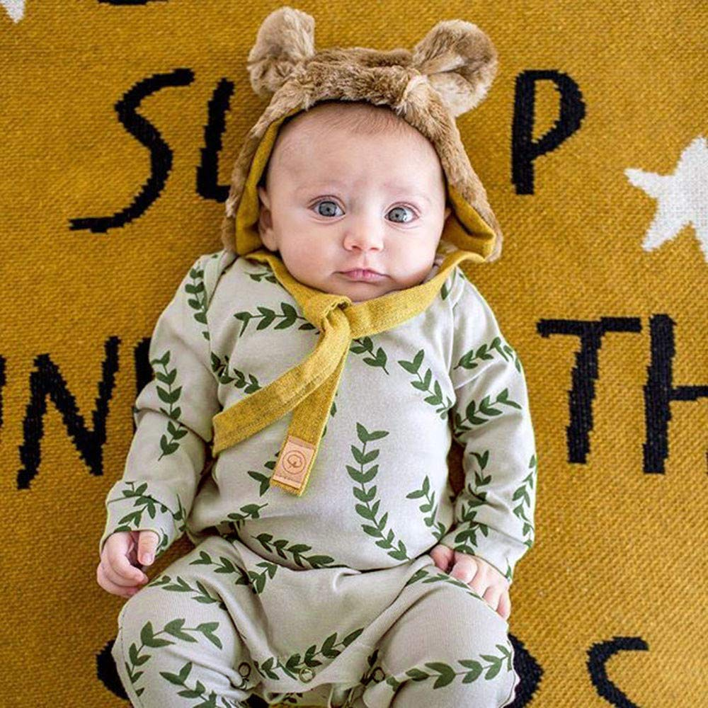 Newborn Infant Baby Boys Girls Long Sleeve Leaves Print Romper Jumpsuit Outfits Clothes SHITOU